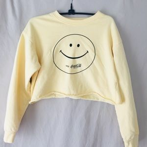 Coca Cola Yellow Cropped Smiley Face Sweatshirt